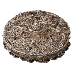 Rare Little Silver Filigree Pomander German, circa 1690