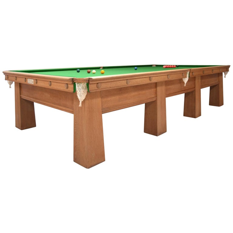 Arts and Crafts Billiard Snooker Pool Table oak Glasgow School Design 1910 For Sale