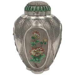 Chinese Silver and Enamel Tea Caddy