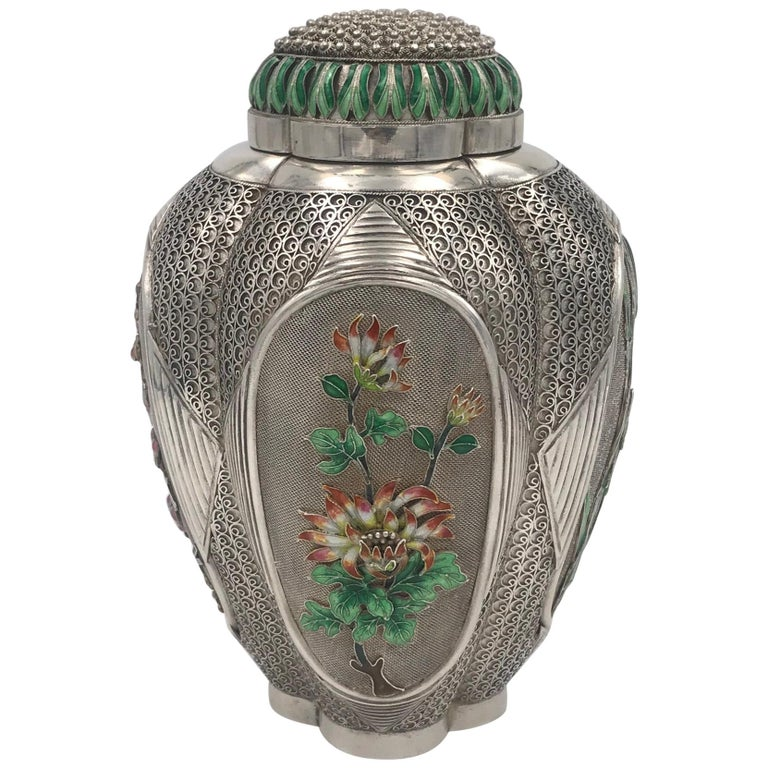Chinese Silver and Enamel Tea Caddy For Sale