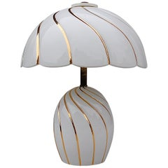 White and Gold Ceramic Table Lamp, 1980s Italy