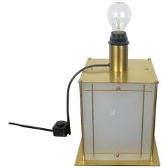 Table Lamp Double Lights in Golden Metal and Lucite, Italy, 1970s