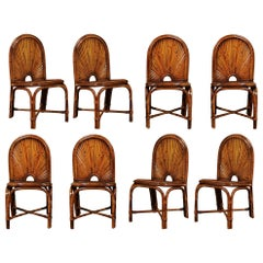 Spectacular Restored Set of 10 Rising Sun Style Bamboo Chairs, circa 1975