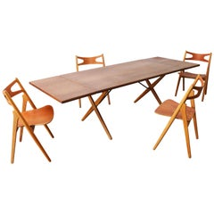 Danish Dining Room Set Hans J Wegner for Andreas Tuck CH29 Sawbuck AT-309 Table