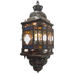 Moroccan Handcrafted Moorish Light Fixture with Multi-Color Glass
