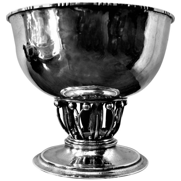 "Georg Jensen Sterling Silver ""Louvre"" Pedestal Bowl For Sale"