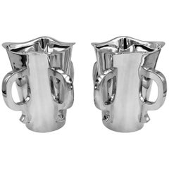 Pair of English Silver Vases