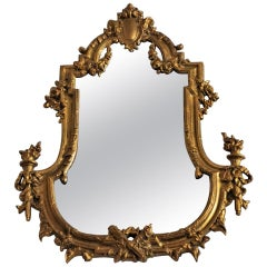 19th Century French Regengy Style Gilt Bronze Faceted Crystal Mirror