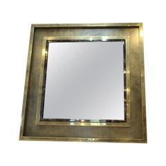 Square Brass and Chrome Metal Large Mirror by Belgachrome, circa 1970