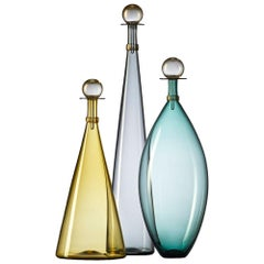 Trio of Colorful Amber, Grey, Aqua Blown Glass Bottles with Gold by Vetro Vero
