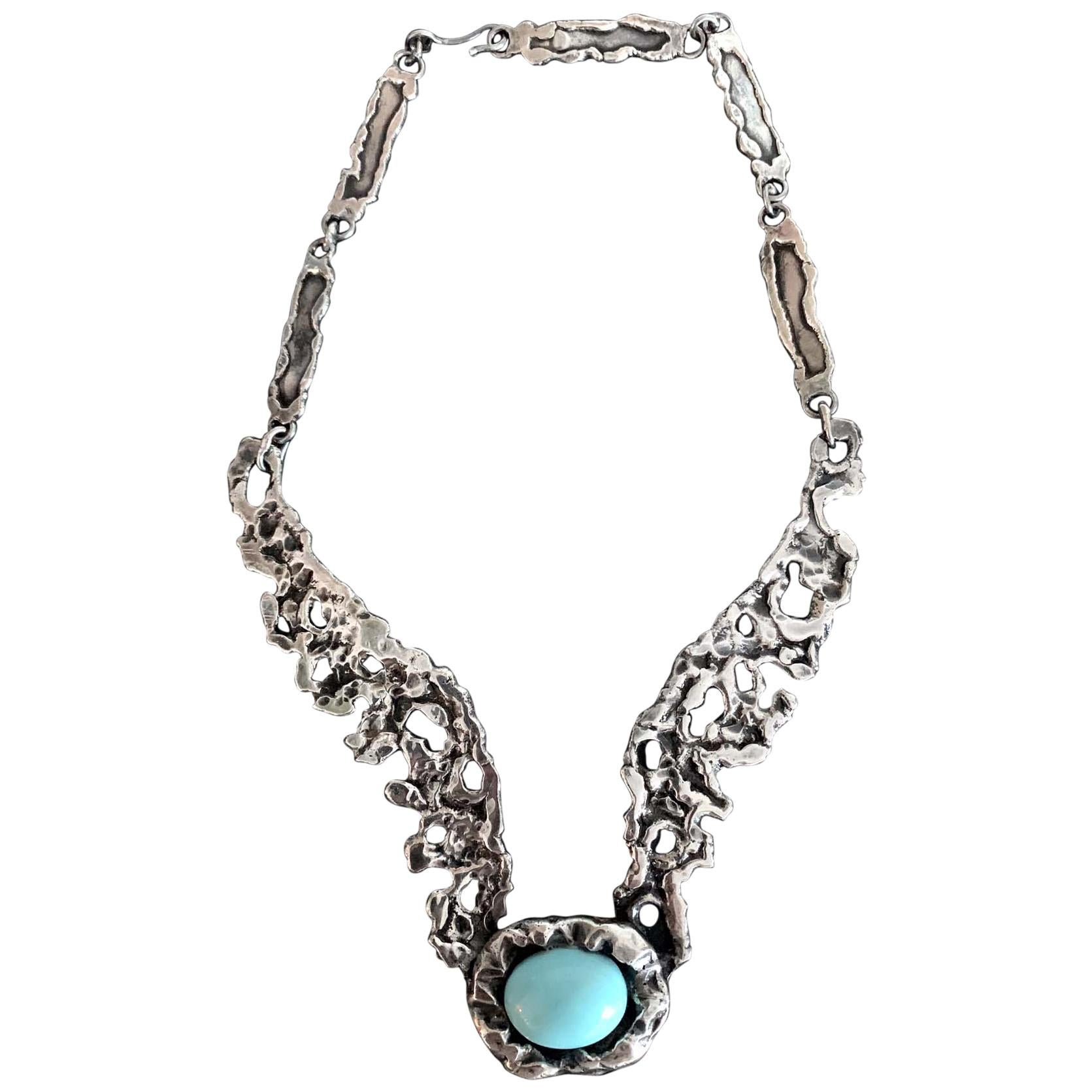 Mexican Modernist Sterling Silver Necklace by Tane Orfebres