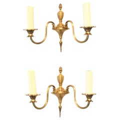 Pair of 20th Century Empire Style Bronze Sconces, German, 1960s