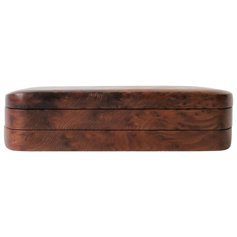 Burl Wood Vanity Jewelry Box For Sale