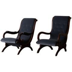 Chairs Easy Swedish Mahogany Gray Velvet 19th Century, Sweden