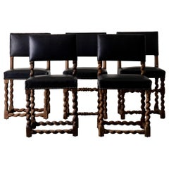 Dining Chairs Set of Six Oak Black Leather Baroque Sweden