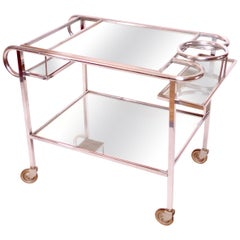 1930s French Art Deco Bar Cart in Chrome with original Mirrors