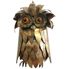 1960s Brutalist Brass Owl Sculpture