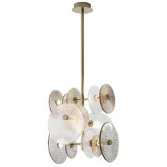 Ceiling Lamp  in Champagne Finish Brass Decorative Glass