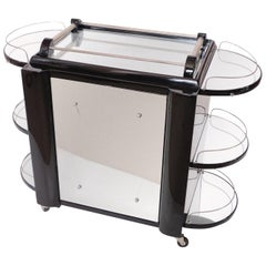 Movable Black Lacquer Art Deco Style Bar Cart with Mirrors, France, 1950s