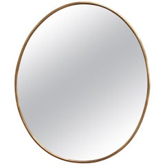 Midcentury Italian Wall Mirror with Brass Frame 'circa 1950s', Small