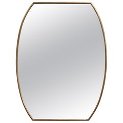 Midcentury Italian Wall Mirror with Brass Frame 'circa 1950s' Small