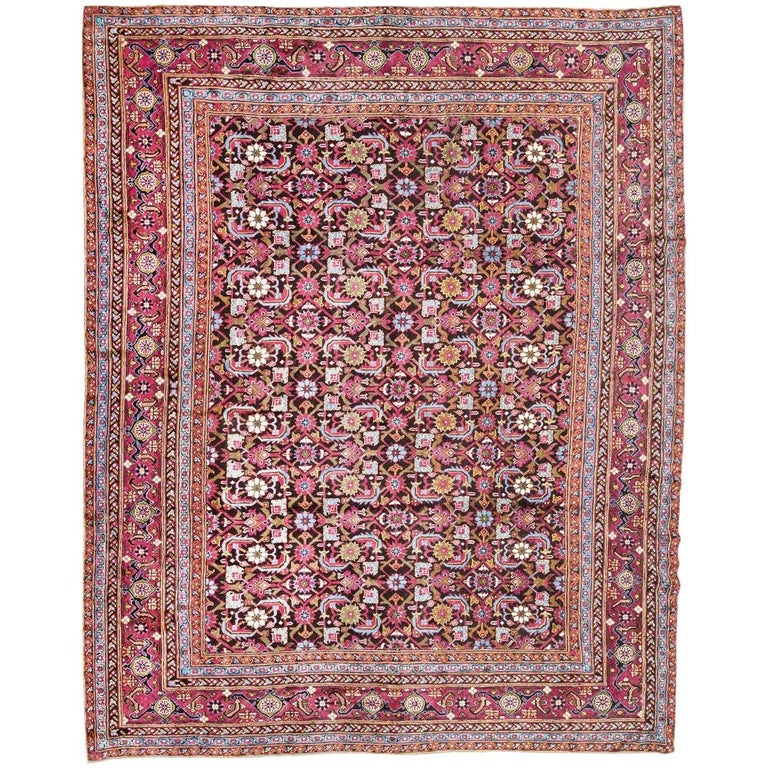 Antique Cotton Agra Rug With Abrash Circa 1900 For Sale: Antique Rug Circa 1900, Agra From India With Design Of