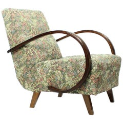 Classical Armchair by Jindrich Halabala in Original Floral Fabric, Czechia 1950s