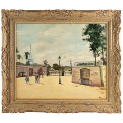 Lucien Adrion Oil on Canvas Tuileries View in the 1930s, Paris