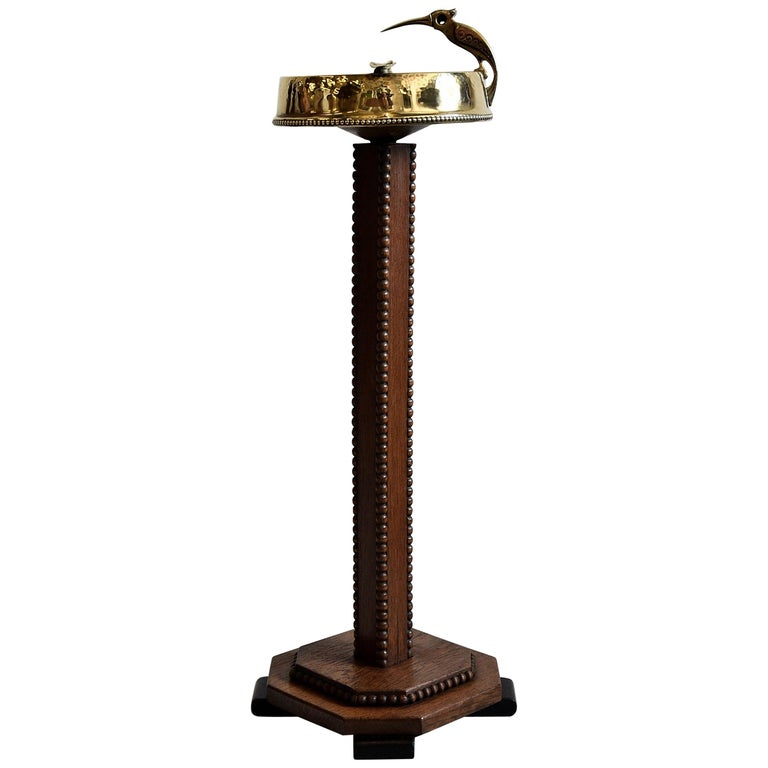 Art Deco Brass and Oak Ashtray Stand with Cigar Clipper For Sale