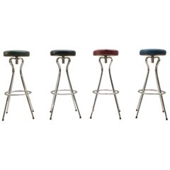 Four Rotatable Mid-Century Modern Colored Bar Stools, Germany, 1950s