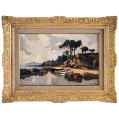 Lucien Péri, Oil on Panel, Boats under Corsican Pines, circa 1925-1935