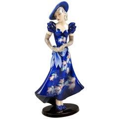 Goldscheider Vienna Lady with Blue Dress and Hat Model 7275 circa 1935-1936