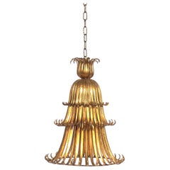 Glamorous Gilt Metal Chandelier or Pendant