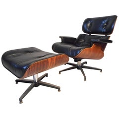 Midcentury Eames Style Swivel Lounge Chair and Ottoman