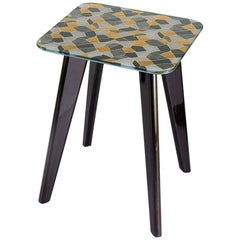 Side Table with Solidwood Legs Glossy or Matt Lacquered Finish Top in Vetrite