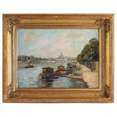 Alexis Vollon Oil on Canvas Bords de Seine à Paris Circa 1930