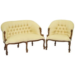 Rope Twist Napoleon III Style Suite Seating Armchair & Settee Chesterfield Sofa