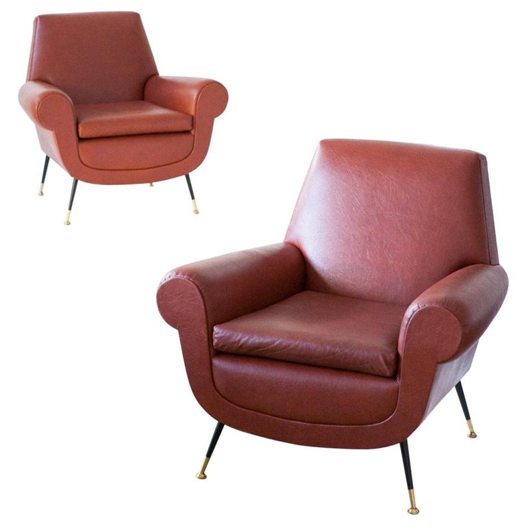 Italian Mid-Century Modern Faux Leather Armchairs by Gigi Radice for Minotti For Sale