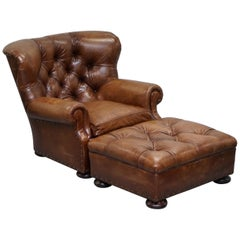 Ralph Lauren Writer's Aged Brown Leather Armchair and Footstool Ottoman