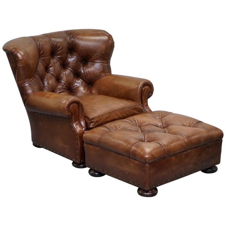 Amazing Ralph Lauren Writers Aged Brown Leather Armchair And Footstool Ottoman Gmtry Best Dining Table And Chair Ideas Images Gmtryco