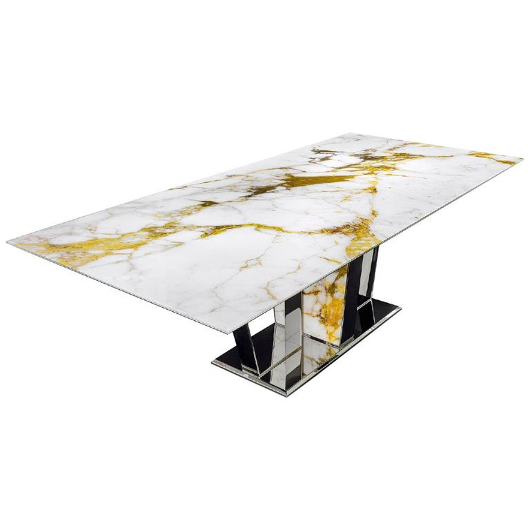 Table Base and Top Frame in Polished Stainless Steel Antique Finish Top Vetrite For Sale