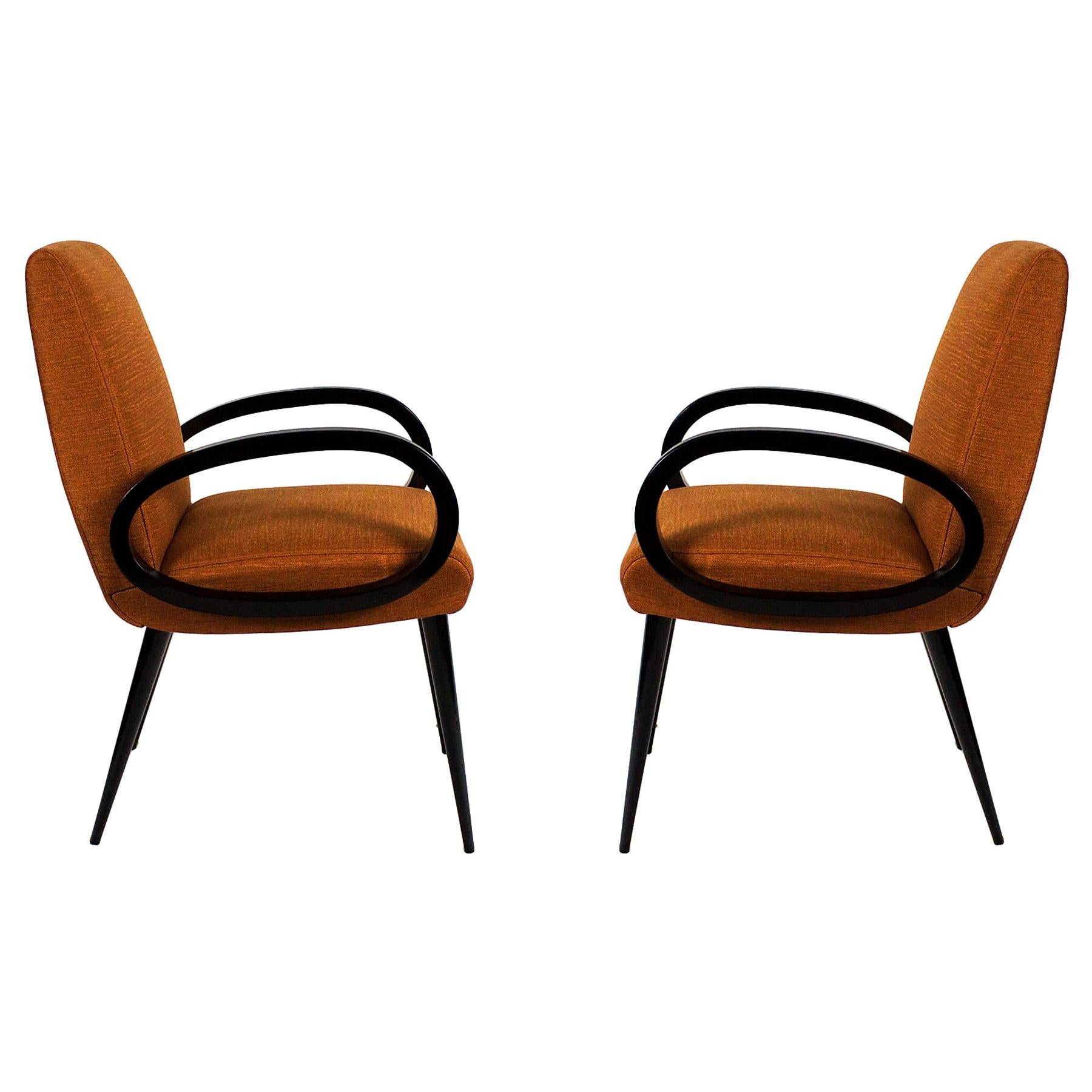1950s Pair of Bridge Armchairs, Oval Arms, Stained Beech, Fibreguard, France