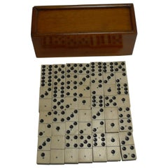 Antique Boxed Set English Bone and Ebony Dominoes, circa 1910