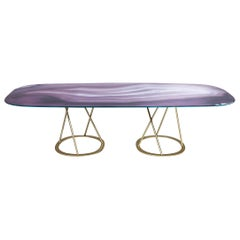 Table Base and Top Frame Polished Stainless Steel Antique Bronze Finish