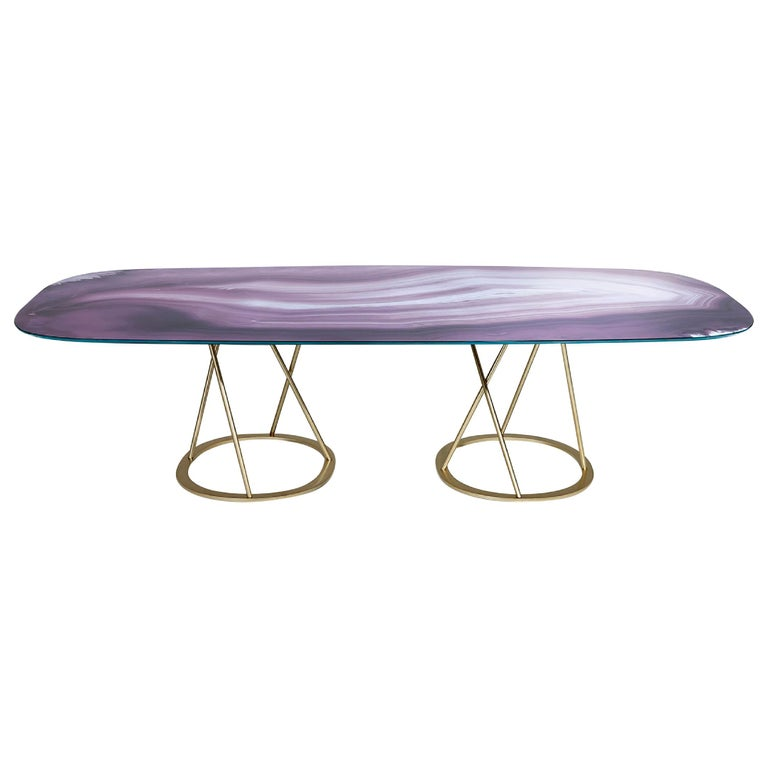 Table Base and Top Frame Polished Stainless Steel Antique Bronze Finish For Sale