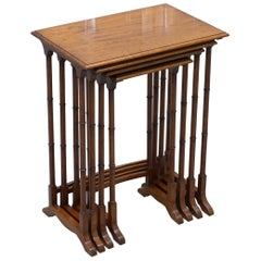 Stunning Nest of Four Georgian Nesting Tables Side Tables with Famboo Legs