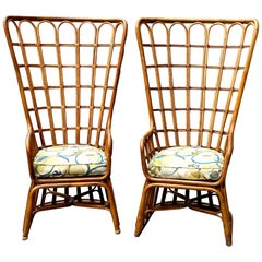 Pair of Vintage High Back Bamboo Chairs