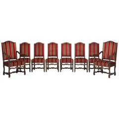 Country French Dining Chairs, Set of 6 Side Chairs and 2 Armchairs