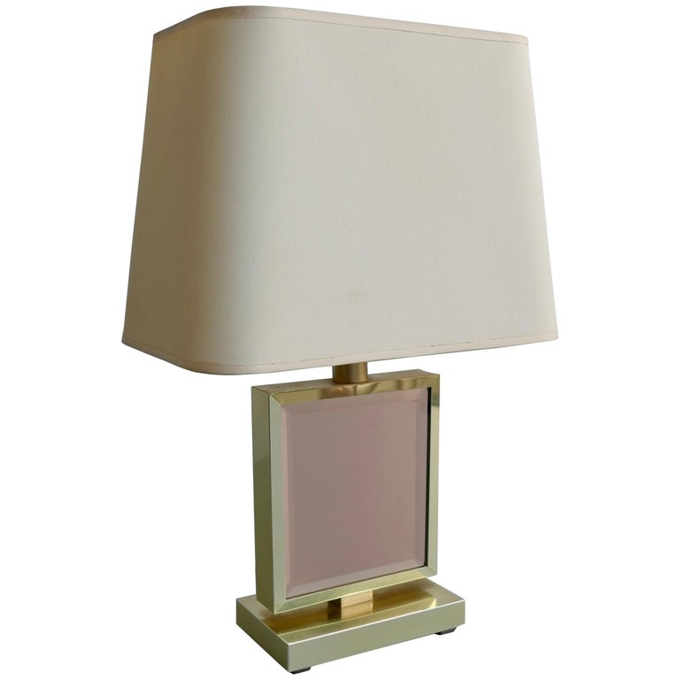 Table Lamp in Brass and Pink Glass, France, 1970s