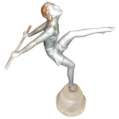 Art Deco Figurine of Dancing Girl in the Manner of Josef Lorenzl